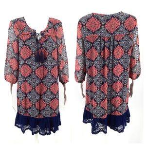 AUW Dress 10 Navy Blue Pink Lace Boho Tassel
